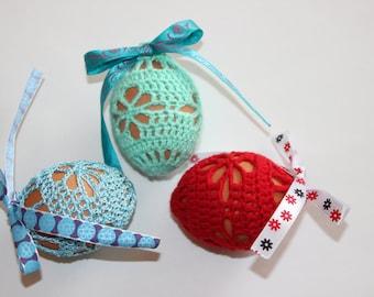 Handmade Crochet Easter Egg Cover, Set of 3, Easter Decoration
