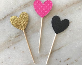 KATE SPADE Inspired Pink, Black & Gold Glitter HEART Cupcake Toppers. Wedding, Bridal Shower, Baby Shower Decoration. Birthday Party
