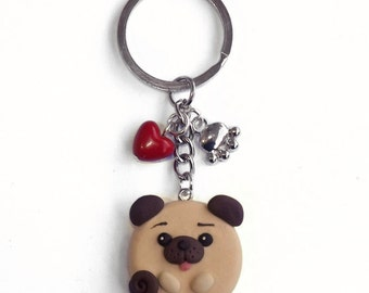 Keychains pug dog polymer clay and red heart