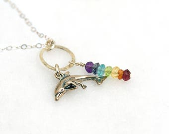 7 Chakra Necklace, Mother Daughter Necklace, Chakra Stones, Silver Chakra necklace with Silver DOLPHIN Charm, Yoga Jewelry, Chakra Crystals