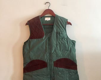 Down Hunting Vest with Suede Leather Accents. Vintage Hunting Vest. Down Vest. Army Green Down Vest.