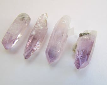 4 Vera Cruz Amethyst Crystals - Clear Lavender Purple Amethyst Quartz Crystal Points, Loose Raw Crystals Rocks and Healing Stones
