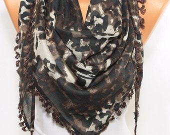 Leopard Scarf Brown Triangle Scarf Tassel Scarf Cowl Scarf Bohemian Fashion Accessories Women Fashion Accessories Scarf Holiday Gift Ideas