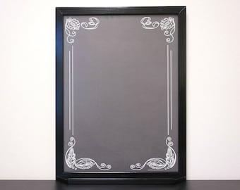 """Black """"Artisan"""" Chalkboard Message Board Whiteboard - Large Framed Dry Erase Board - Note Board / Command Center / Memo Board Custom Options"""