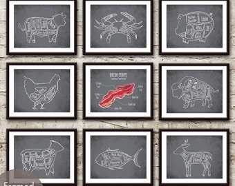 Butcher Art Collection - Set of 9 - Art Print (Featured in Charcoal) (Customizable Colors)