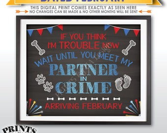 Dog Pregnancy Announcement, 4th of July Themed Baby Reveal, Meet My Partner in Crime in FEBRUARY Dated Chalkboard Style PRINTABLE Sign <ID>