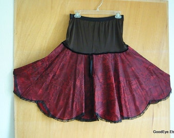 Vintage 1950s Drop Waist Petticoat / Nylon Lace Red Black / Small Medium  size / made USA Crinoline  Slip by EYE-FUL