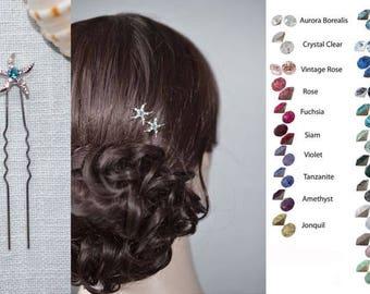 Choose Your Accent Colour -- Set of 2 Crystal Rhinestone Starfish Hair Pins, Beach Wedding (Sparkle-2327)