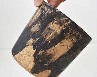 Black and Gold Cement Pot | Concrete | Planter | Succulents | Desk | Office Plant | Charcoal | Minimal