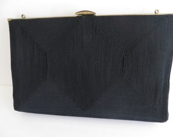 Vintage 40s womens black cloth purse, handbag, evening bag, gold trim,  dressy Hollywood style, by Corde, Mothers Day gift