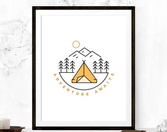 Adventure Awaits Print, Adventure Awaits Art, Wanderlust Print, Adventure Art Print, Inspirational Poster, Travel Art, Motivational Print
