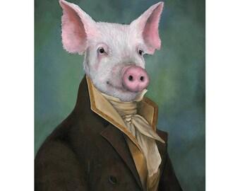 Pig Canvas Art Prints, Mister Piggy, Pig Gifts, Vintage Pig In Clothes
