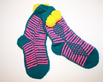 Hand knit socks, Color burst, Wool socks, Hand knitted socks gift for her, Womens socks, Knitted sock, Cute socks, Cable knit, Funny socks.