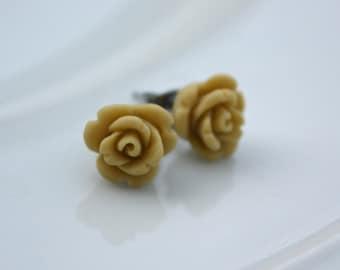 Earrings -- Tiny tan roses