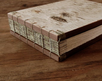 white birch bark  wedding guest book -  bark wood book or journal  - rustic cabin guest book moss green brown neutral cabin  - made to order