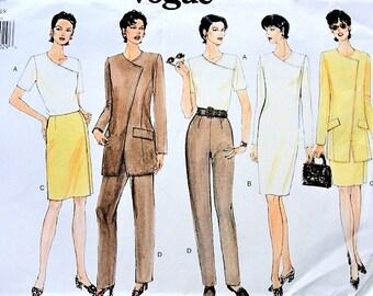 Vintage 90s VOGUE 1925 Pattern Jacket,Slim Dress, Top ,Slim Skirt and Slim High Waist Pants Evening or Day Classy Design UNCUT Size 14-16-18