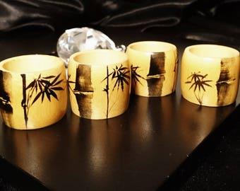 Vintage bamboo napkin rings, bamboo print, wooden napkin rings, set of 4