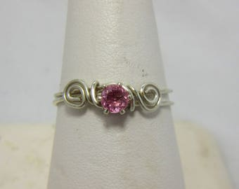 Pink Tourmaline Ring, Sterling Silver Wire, Wire Wrap Ring, October Birthstone, Size 8.75 Ring, Native American Made, Cherokee Made #46B
