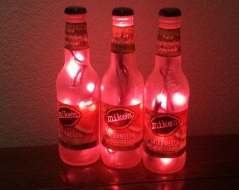 Mikes Hard Lemonade Bottle Light Watermelon 3 Pack, (Pink lights) Lighting Accents, Bar Light, Tiki, Liquor Bottle Light, Liquor Bottle Lamp