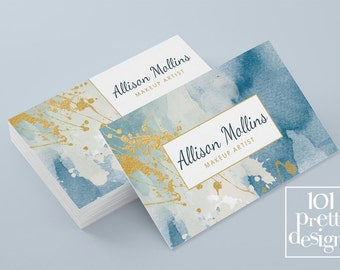 Watercolor business card template gold printable business card design gold and navy business cards gold paint business card gold foil makeup