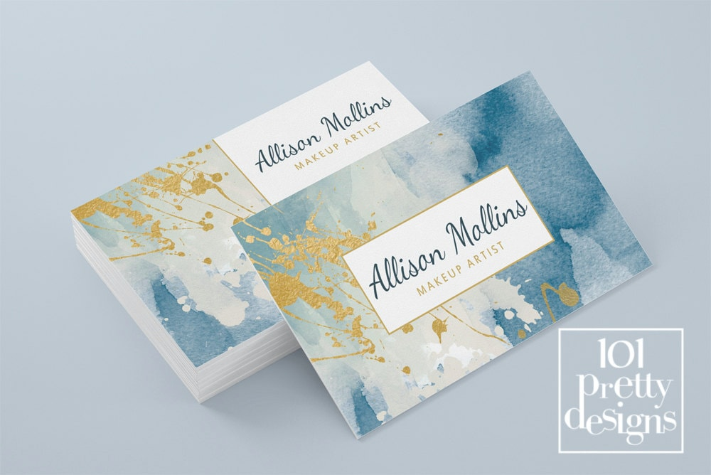 Watercolor Business Card Template Gold Printable Business Card - Painter business card template