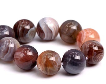 "12MM Botswana Agate Beads Grade AAA Genuine Natural Gemstone Half Strand Round Loose Beads 7"" BULK LOT 1,3,5,10 and 50 (102157h-593)"