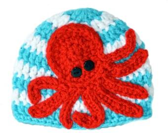Nautical Baby Hat, Red Octopus Hat, Kraken Baby Hat, Toddler Boys Hat, Summer Beanie, Beach Hat, Baby Boys Nautical Hat, Baby Girl Summer