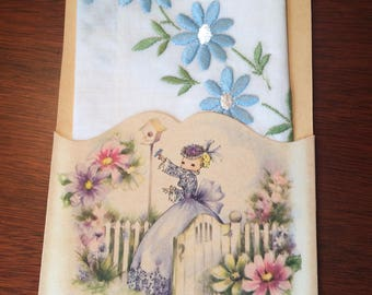 Vintage Mother's Day card with vintage handkerchief  unused