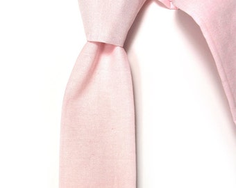 Light pink chambray necktie - Wedding Mens Skinny Necktie Laid-Back necktie