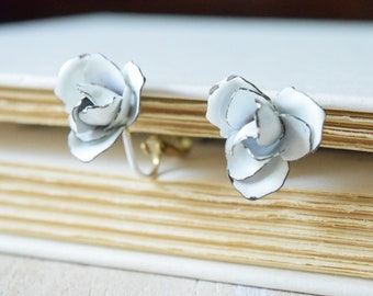 French White Rose Metal Earrings | 1960's Enamel earrings