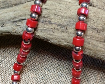 Red Branch coral and sterling silver bead Necklace n6