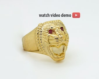 Gold Lion Ring, Assyrian Lion Gold Ring for Men, Gold Lion Head Ring, Ruby Gold Plated Ring, Assyrian Jewelry gift