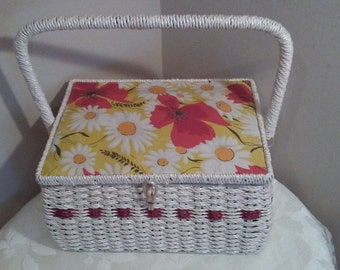 Dritz Sewing Box Basket, Flower Power Retro Sewing Box, Red Poppies and Yellow Daisies Sewing Box Basket