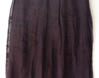 Aubergine Silk Organza Overlay Embellished Skirt