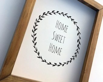 Home Sweet Home In Black & White Wreath or Laurel Art Print Home Decor Wall Art Print on Paper, Wood Framed or Canvas Wrap