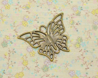 1 x charm connector print Butterfly metal bronze