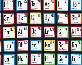Multi Color Periodic Table of Elements from Robert Kaufman's Science Fair Collection
