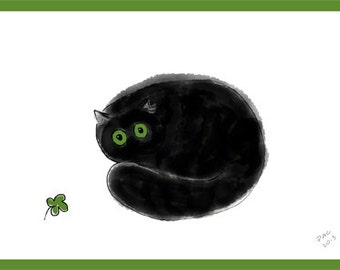 Cat Greeting Card, Blank, Lucky Clover Design No A6007
