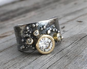 Moissanite & Diamond Engagement Ring 18K Gold Handmade Wedding Ring Handmade By Wild Prairie Silver Jewelry