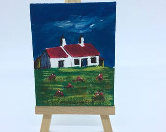 Red Roof. Mini Canvas And Easel, Gouache, Liquid Metal Acrylic.