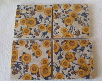 Coasters, Tile Coasters, Sunflower Coasters,  Yellow and Blue Coasters, Drink ware, Shower Gift, Wedding Gift