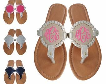 Monogram Sandals, Monogram Flip Flops, Monogram Sandal, Monogrammed interchangeable Medallion Sandals, Monogram Disc Sandals