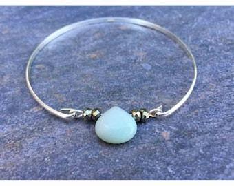 LifeBoho - Sterling Silver Amazonite Bracelet, Faceted Briolette Amazonite Pyrite Bangle Bracelet, Sterling Silver, FREE SHIPPING