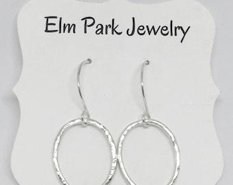 Silver Hoop Earrings - Hammered Argentium Silver Earrings - Dangle Hoops - Oval Earrings - Minimalist Jewelry - Simple Everyday Earrings