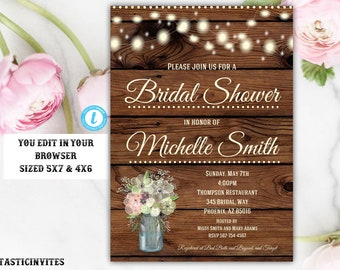 Rustic Bridal Shower Invitation, Rustic Invitation, Bridal Shower Template, Instant Download, Bridal Shower Invitation, Template, DIY, EDIT