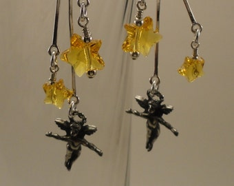 Pewter Angel, Swarovski Crystal Stars, and Sterling Silver Earrings