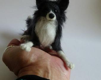 Needle felted Dog/Needle felted Border Collie/Needle Felted animal/OOAK/ Custom Miniature Sculpture of your dog