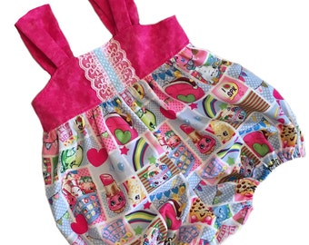 Girls Shopkins Sunsuit Bubble Romper Infant Baby Toddler