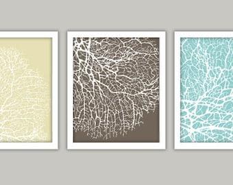 """Sea Coral Art Print Set, Blue Brown & Cream - 5x7"""""""