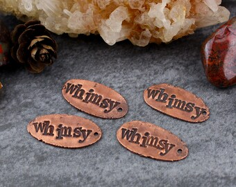 SALE Solid Copper Whimsy Word Charms, Pure Antique Copper Inspirational Word Components, 2 pcs, 12x25mm,  C22, PMC Precious Metal Clay